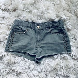 Army Green Gold Studded Shorts